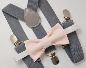 d3e12f165826 Bow Tie & Suspenders SET / PALE Blush Pink Bow Tie / Medium Gray Suspenders  / Kids Mens Baby Wedding Page Boy Set 6 months - to Adult Set