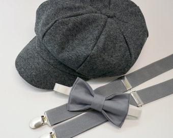SET Gray Newsboy Cap Hat   Medium Gray Bow Tie   Medium Gray Suspenders    Kids Baby Page Boy Outfit Set   Newborn - 10 Years sizes f69da261c87