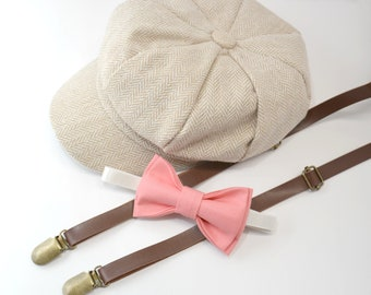6ab2d8dbc3b Herringbone LIGHT TAN Newsboy Cap Hat   Coral Bow Tie   Skinny Pu Leather  Suspenders   Kids Baby Page Boy Outfit Set   Newborn -10Years