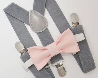 e29564bb50b1 Bow Tie & Suspenders SET / Blush Pink Bow Tie / Medium Gray Suspenders /  Kids Mens Baby Wedding Page Boy Set 6 months - to Adult Set