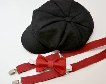 Bow Tie Suspenders Newsboy Black Cap Hat   Red Bow Tie   Red Suspenders    Kids Baby Page Boy Outfit Set   Newborn - 10Years 98963ef1b56e