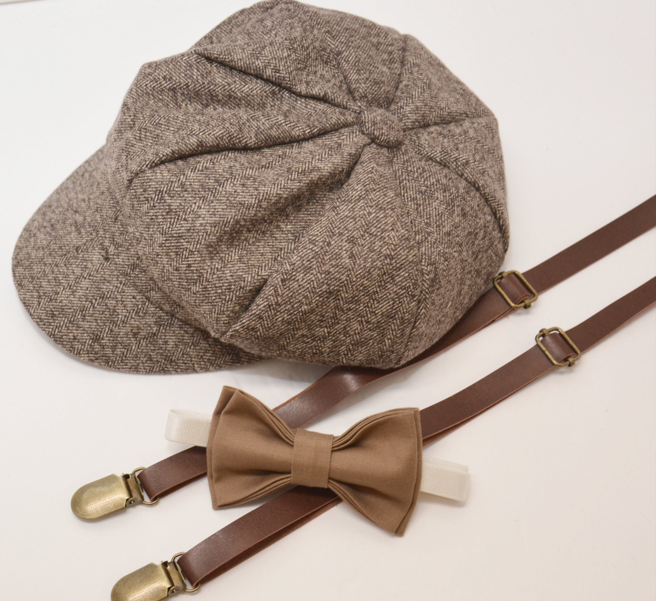 f87e0f0ccd9 Herringbone Taupe Brown Newsboy Cap Hat   Taupe Brown Bow Tie