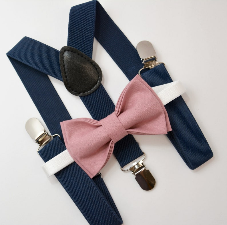 buy online 20aff 0895e Bow Tie   Suspenders SET   Dusty Rose Pink Bow Tie   Navy Blue   Etsy