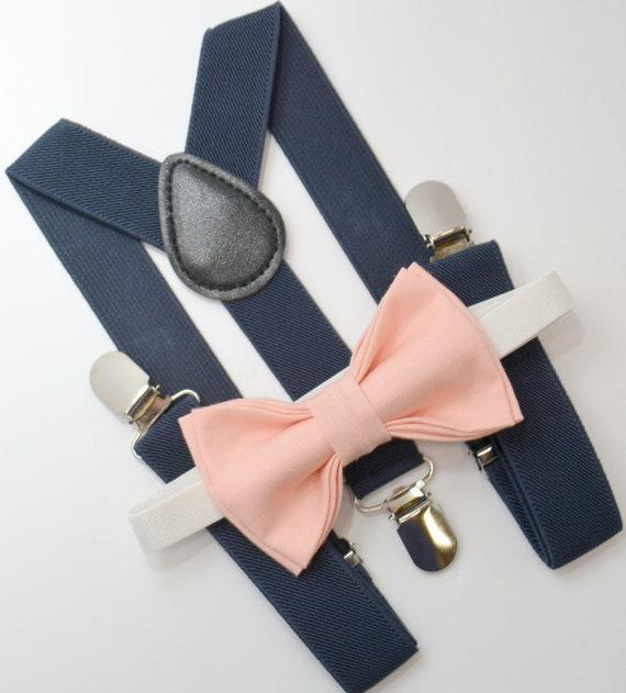 Kids Boys Baby,black Suspenders,peach salmon bow tie 6months-5T,Ring bearer