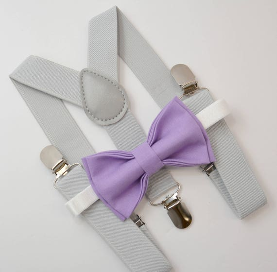 9216345770ea Bow Tie & Suspenders SET / Lilac Wisteria Purple Bow Tie / | Etsy