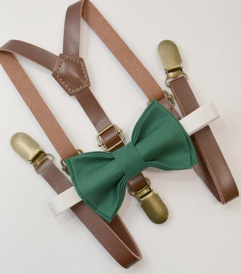 339c5788f43 Bow Tie Suspenders SET   Juniper Green Bow Tie   Brown Faux