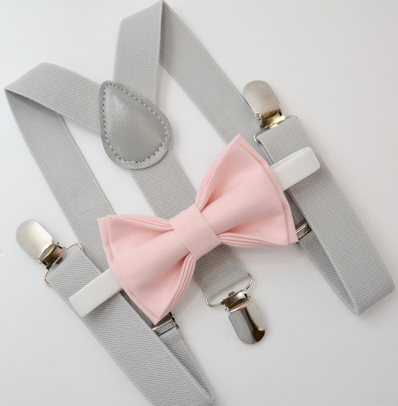 b3d722406a6e Bow Tie & Suspenders SET / Blush Pink Bow Tie / Light Gray   Etsy