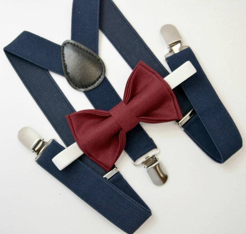 ce0c8cbf6 Bow Tie   Suspenders SET   Wine Burgundy Red Bow Tie   Navy