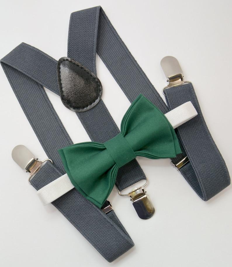 8ffba1f15d5 Bow Tie   Suspenders SET   Juniper Green Bow Tie   Charcoal