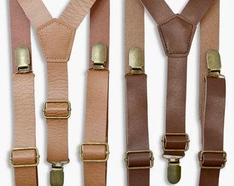 SUSPENDERS / Faux Leather Brown Rustic Suspenders with brass clasps / 1 inch wide / Mens Kids Baby Infant - Adult Teen Groom Suspenders