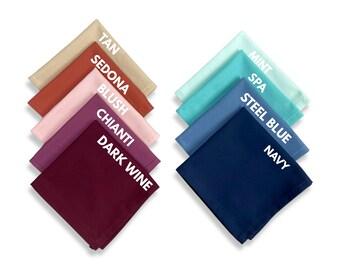 Cotton Pocket Square / Blush Petal / Steel Blue / Spa / Navy / Tan Champagne / Chianti / Wine / Sedona Wedding Groom Groomsman Handkerchief