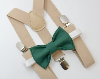 Bow Tie & Suspenders SET / Juniper Green Bow Tie / Beige Tan Suspenders / Kids Mens Baby Wedding Page Boy Set  6 months - to Adult Set