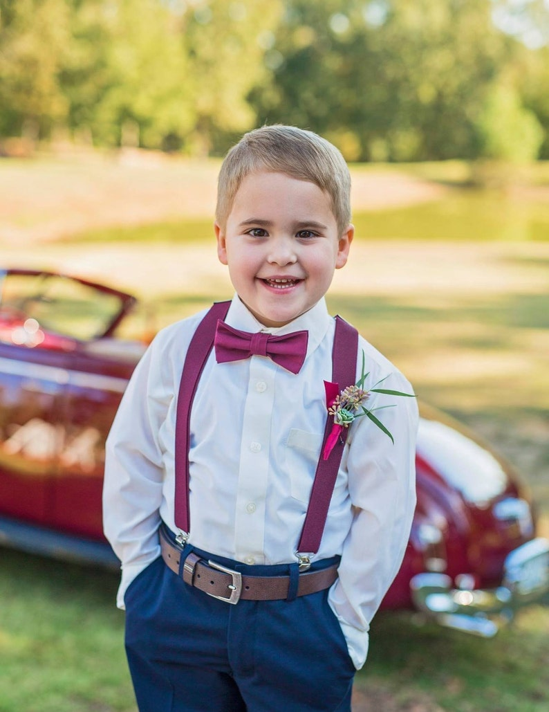 f451d2ffb93e Bow Tie & Suspenders SET / DARK burgundy Bow Tie and Matching   Etsy