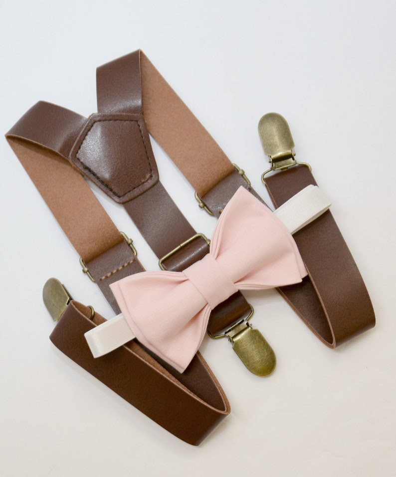 0a1cfb22ffc4 Bow Tie & Suspenders SET / Blush Pink Bow Tie Brown Faux   Etsy