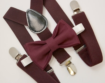 Bow Tie & Suspenders SET / DARK burgundy Bow Tie and  Matching Suspenders / Kids Mens Baby Wedding Page Boy Set  6 mo - Adult Page Boy  Set