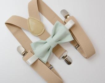 Bow Tie & Suspenders SET / Light Pale Tea Green Bow Tie / Beige Tan Suspenders / Kids Mens Baby Wedding Page Boy Set 6mo -  Adult Set