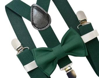 Bow Tie & Suspenders SET / Juniper Green Bow Tie / Juniper Dark Green  Suspenders / Kids Mens Baby Page Boy Infant - Adult Set
