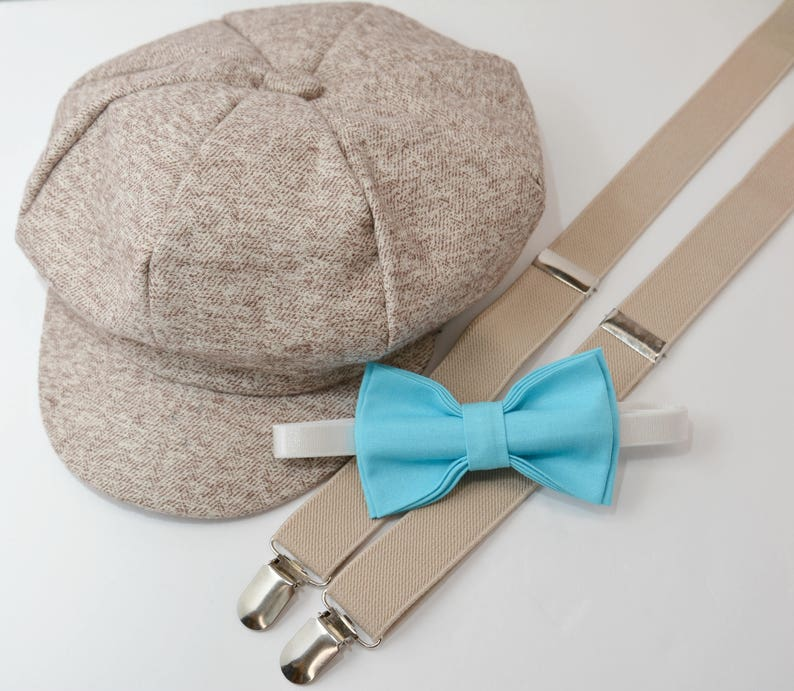 f457fc768 Bow Tie Suspenders Newsboy Cap Hat / Pool Blue Bow Tie / Tan Khaki  Suspenders / Kids Baby Page Boy Outfit / size 8 mon- 10Years