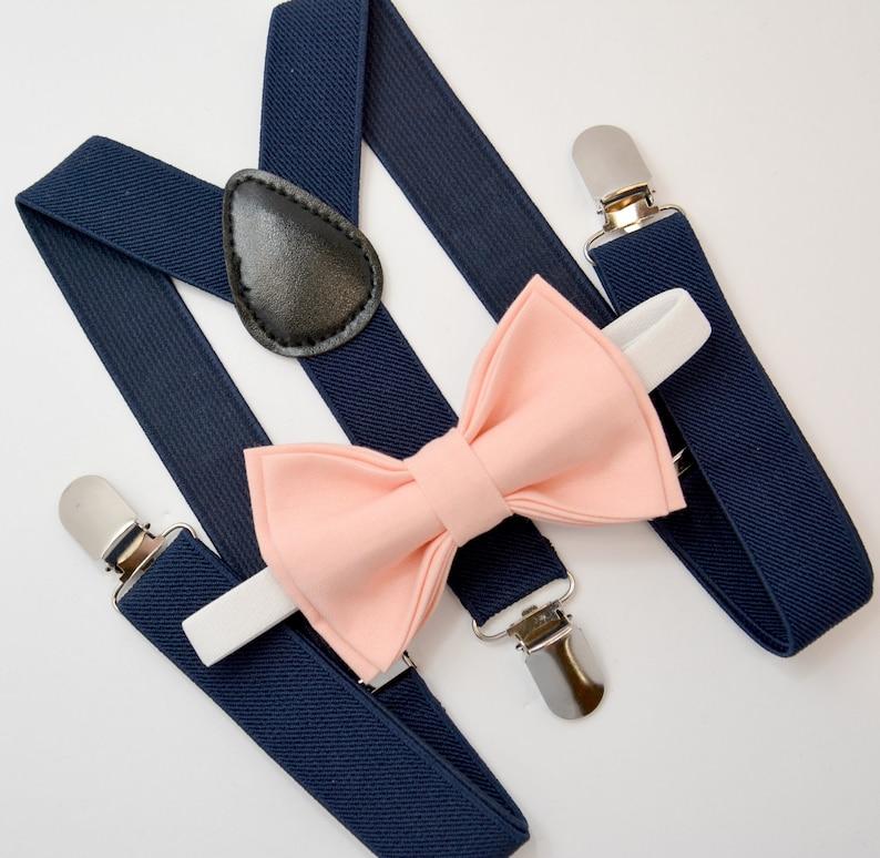 b01bc388f Bow Tie   Suspenders SET   Peach Bellini Bow Tie   Navy Blue