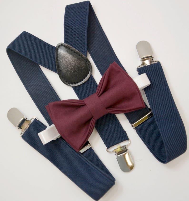 8acdb42d4 Bow Tie   Suspenders SET   Dark Wine Burgundy Red Bow Tie