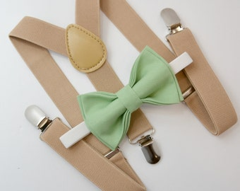 Bow Tie & Suspenders SET / Sage Green Bow Tie / Beige Tan Khaki  Suspenders / Kids Mens Baby Wedding Page Boy Set 6 months - to Adult Set