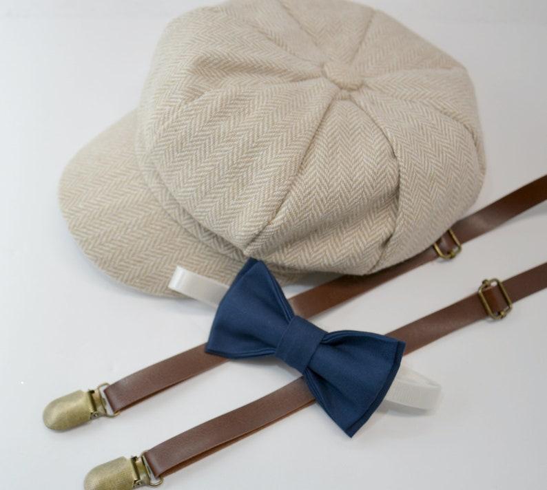 ab737893836 Herringbone LIGHT TAN Newsboy Cap Hat   Navy Blue Bow Tie