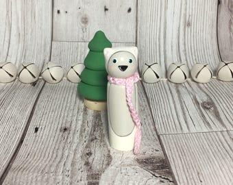 Christmas winter polar bear wooden peg doll decoration