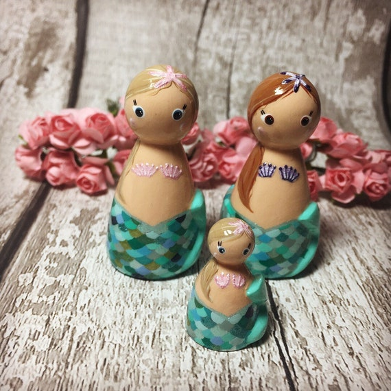 Mermaid Wooden Peg Doll Birthday Gift Gifts For Her