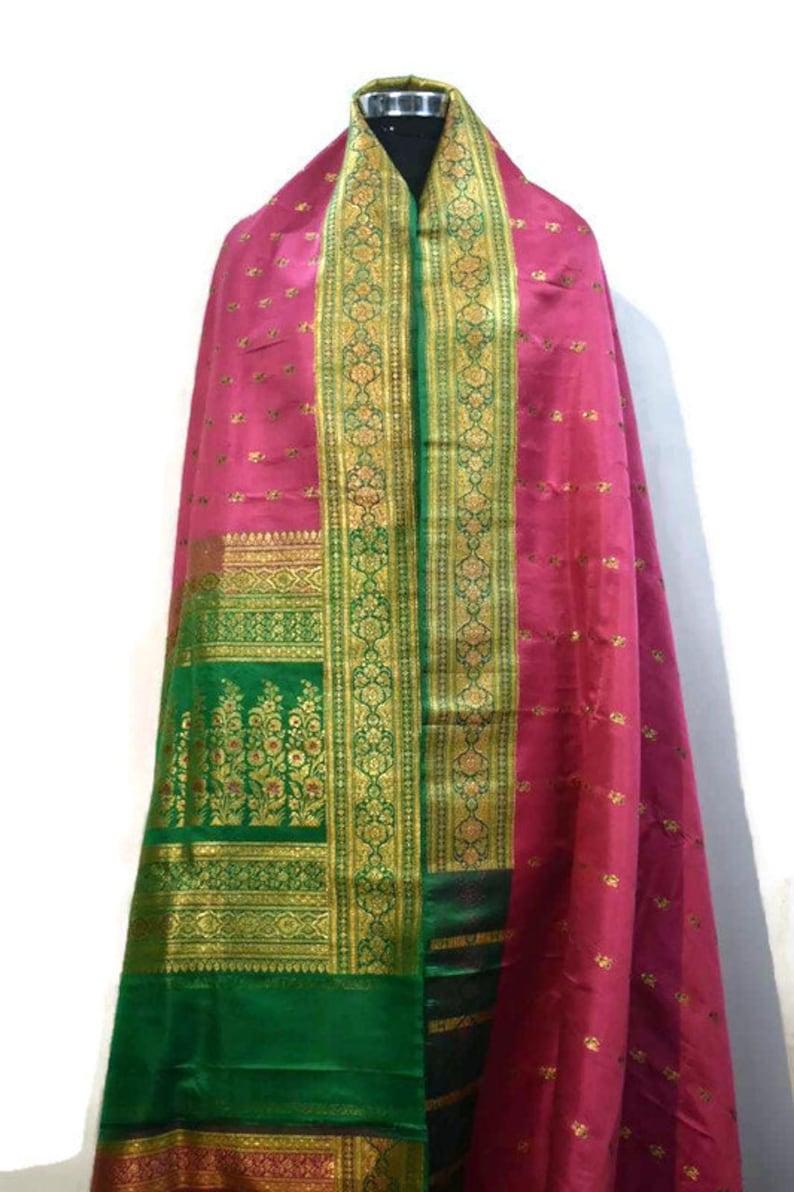 Indian Vintage Saree Pure Silk Fabric, Pure Silk Sari Vintage Silk Saree Vintage Saree Fabric Vintage Saree