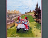 Golf Art Print of Original Oil Painting. Golf Humorous Situations, I Took Up Golf For The Exercise