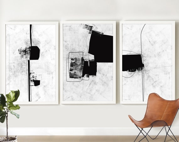 Print Set Of 2 Black and White Abstract Art Minimal Prints Printable Art Modern wall art Black Abstract Art Print Gallery Wall Art