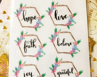 Wreath  with words- Love- Hope-Faith-Joy- Journal Stickers- Bullet Journal Stickers- Planner Stickers 1 sheet.