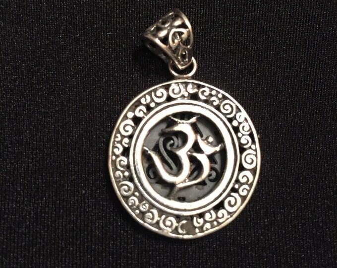 OHM / OM sterling silver pendant - yoga - chakras - meditation - spiritual jewelry