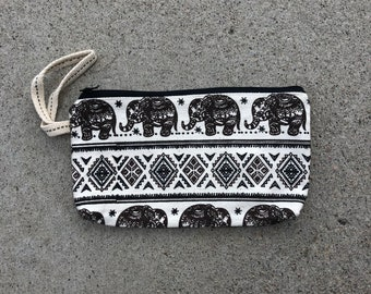 Stash Elephant print clutch purse