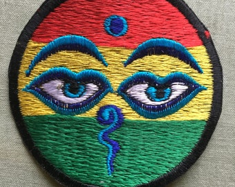 3 inch Rasta buddha eyes patch