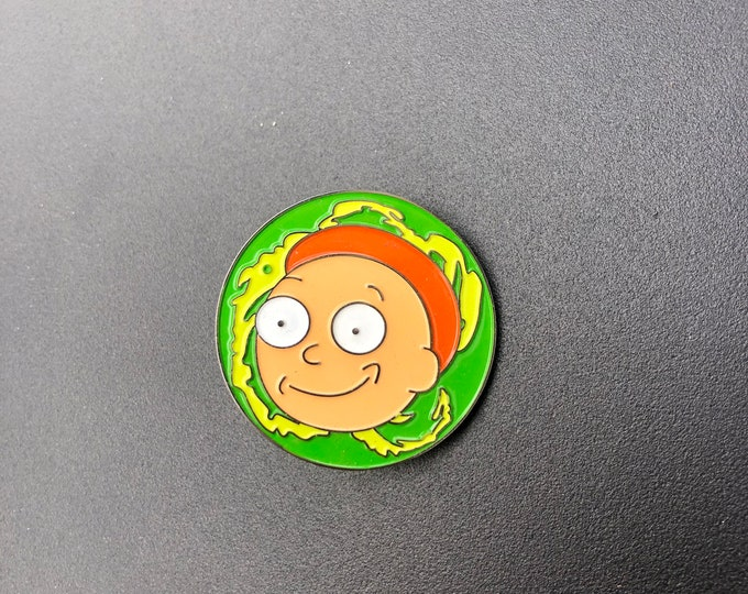 Wide eyed rick and morty pin
