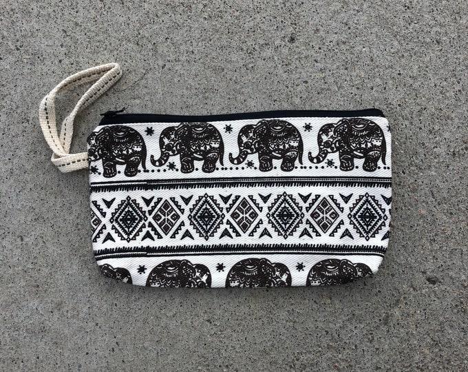 Stash Elephant print clutch purse