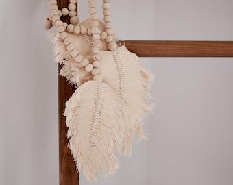 Feather Hanging Tassel - Wooden Bead Decor - Door Hanger Decor - Large Wood Necklace