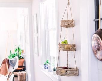 Half Moon Hanging Baskets- Fruit Basket- Hanging Fruit Basket- Home Decor- Kitchen Decor- Farmhouse Decor- Kitchen Wall Decor- Wall Decor