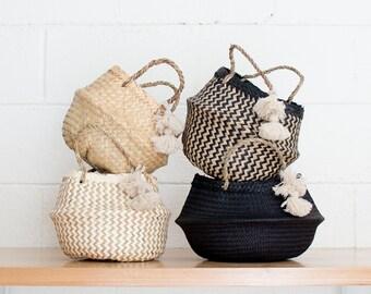 Mini Basket- Belly Basket- Tassel Basket- Boho Basket- Flower Girl Basket- Cute Storage Basket- Seagrass Basket