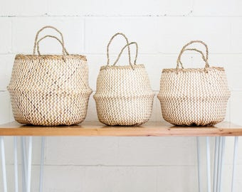LARGE Milk Stripe Basket  Storage Basket  Rice Basket  Belly Basket   Nursery Decor  Home Decor  Toy Storage