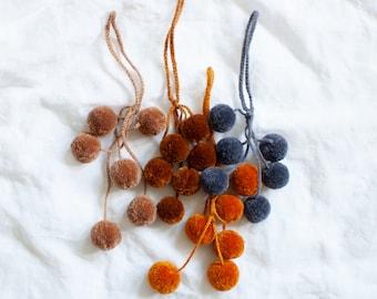 Set of 4 Grapes Tassel - Pompom Cluster - Gifting wrapping tassel - Pompom Decor - Pom Bag Charm