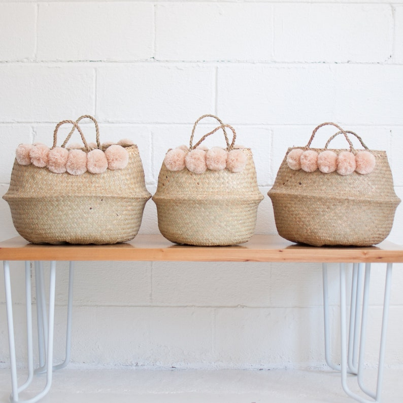 79aaa30a08 LARGE Blush Pom Pom Basket Storage Basket Nursery Decor