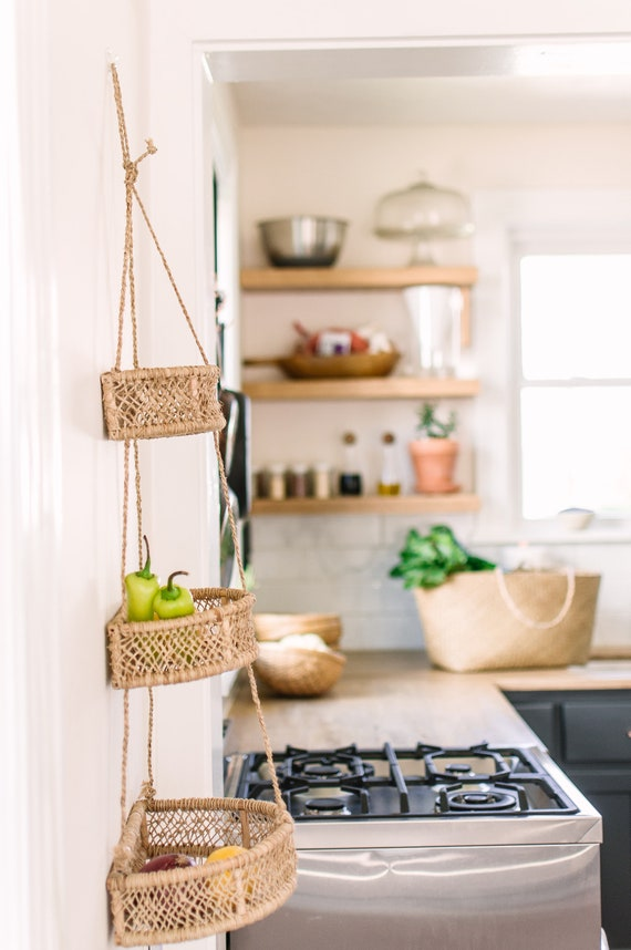 Hanging Fruit Basket- Hanging Kitchen Basket- Three Tiers Basket- Tiered  Basket- Kitchen Storage Basket