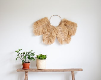 Large Natural Grass Leaves Design Wall Hanging - Bohemian Style Wall Hanging - Natural Art Wall Decor