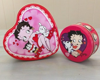 Betty Boop Tin Containers, Vintage Betty Boop tins, Classic Flapper Collectible Cartoon Character Novelty, Small Round Tin Medium Heart Tins
