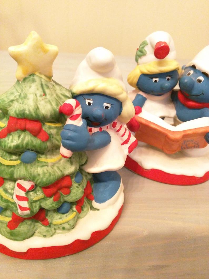 Smurfs Christmas.Smurfs Set Vintage Rare Smurf Collectibles Christmas Porcelain Ceramic Figurines Caroling And Christmas Tree Smurfette Lot Peyo