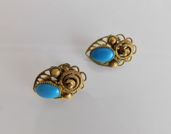 Czech, Neiger, Turquoise Colored Glass, Filigree B