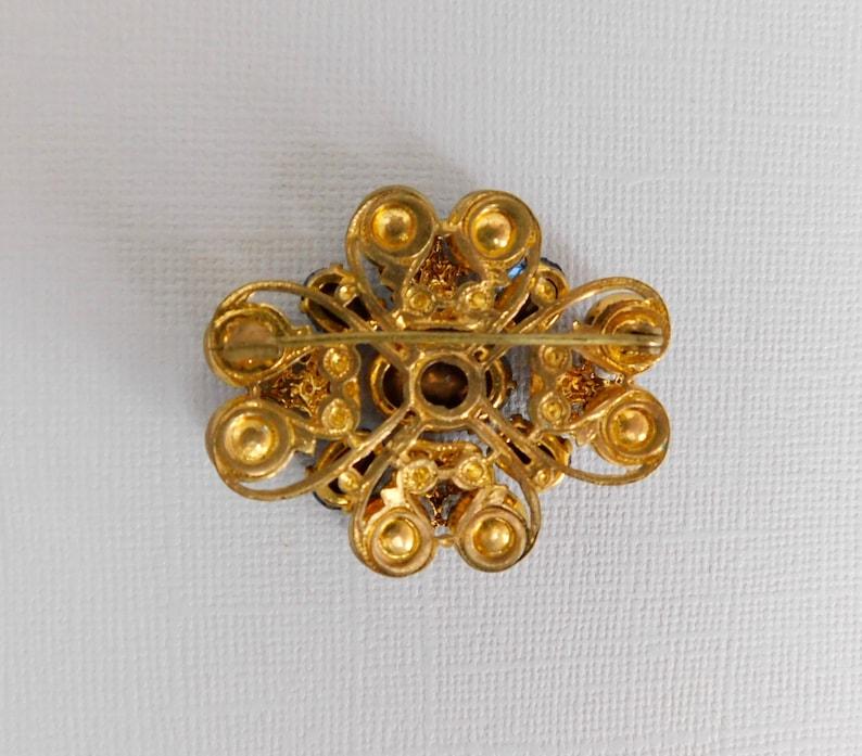 Neiger Blue Crystal Brooch Czech Gold Plated Brass
