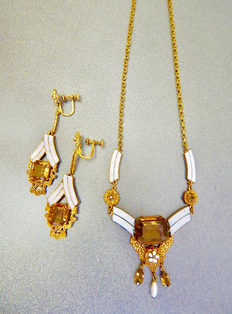 Neiger Yellow Glass and White Enamel Necklace and Earring Set Brass Czech